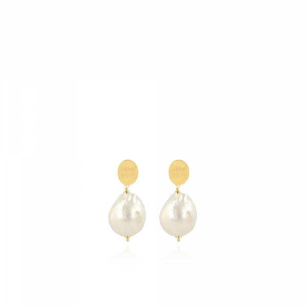Pearl tear drop wild L earrings