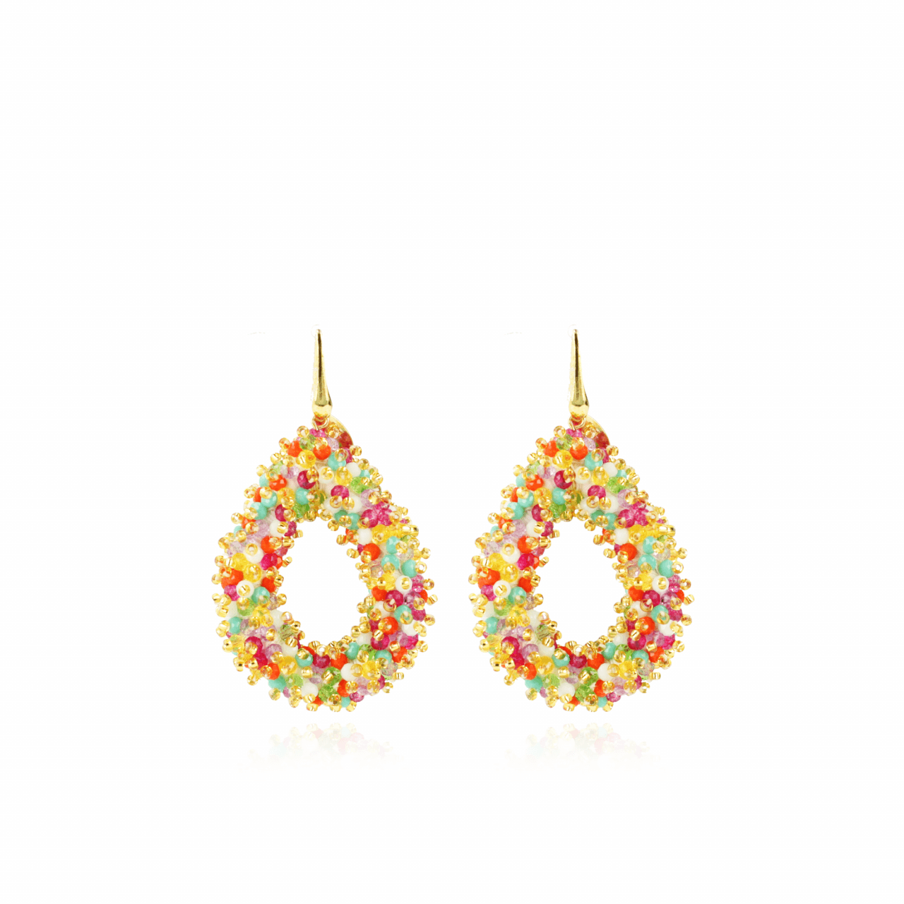 Berry drop L double stones multicolor oorbellen