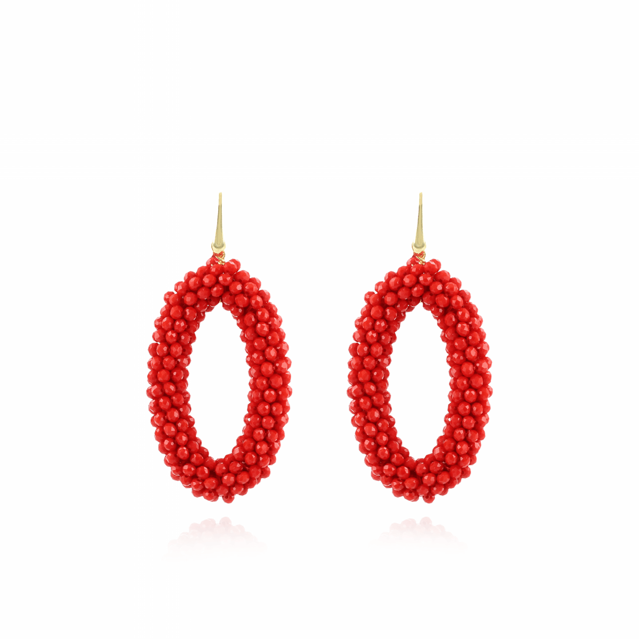 Maxi red oval glassberry L earrings