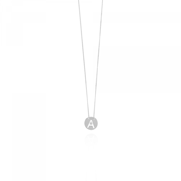 Silver Initial necklace large