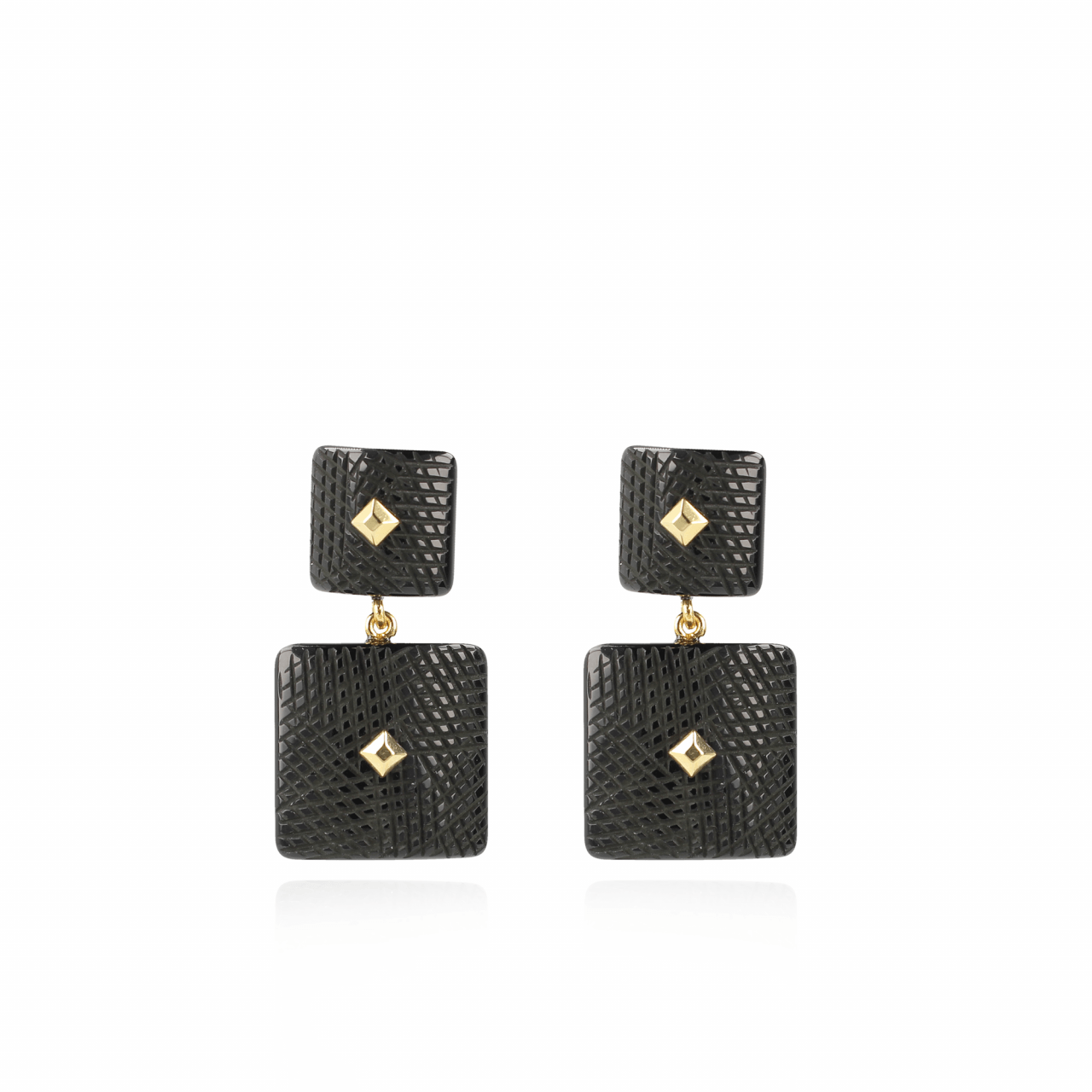 Maud Resin Double Rectangle Black oorbellen