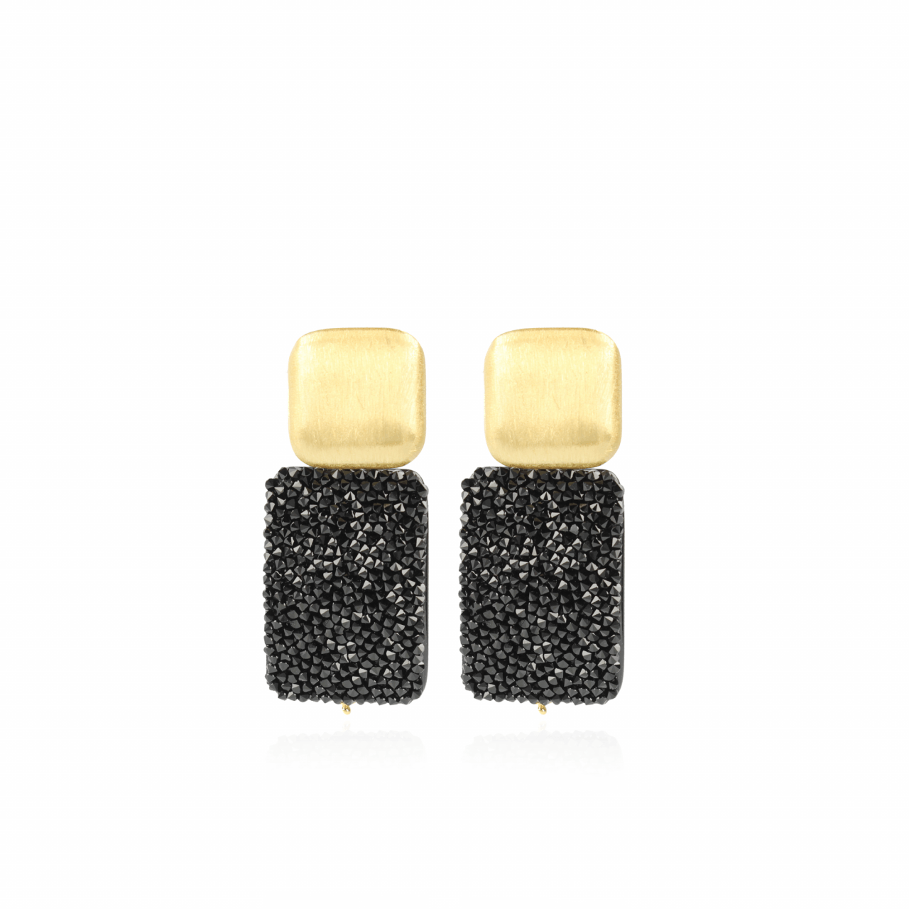 Tess Swarovski Rectangle M Black Gold