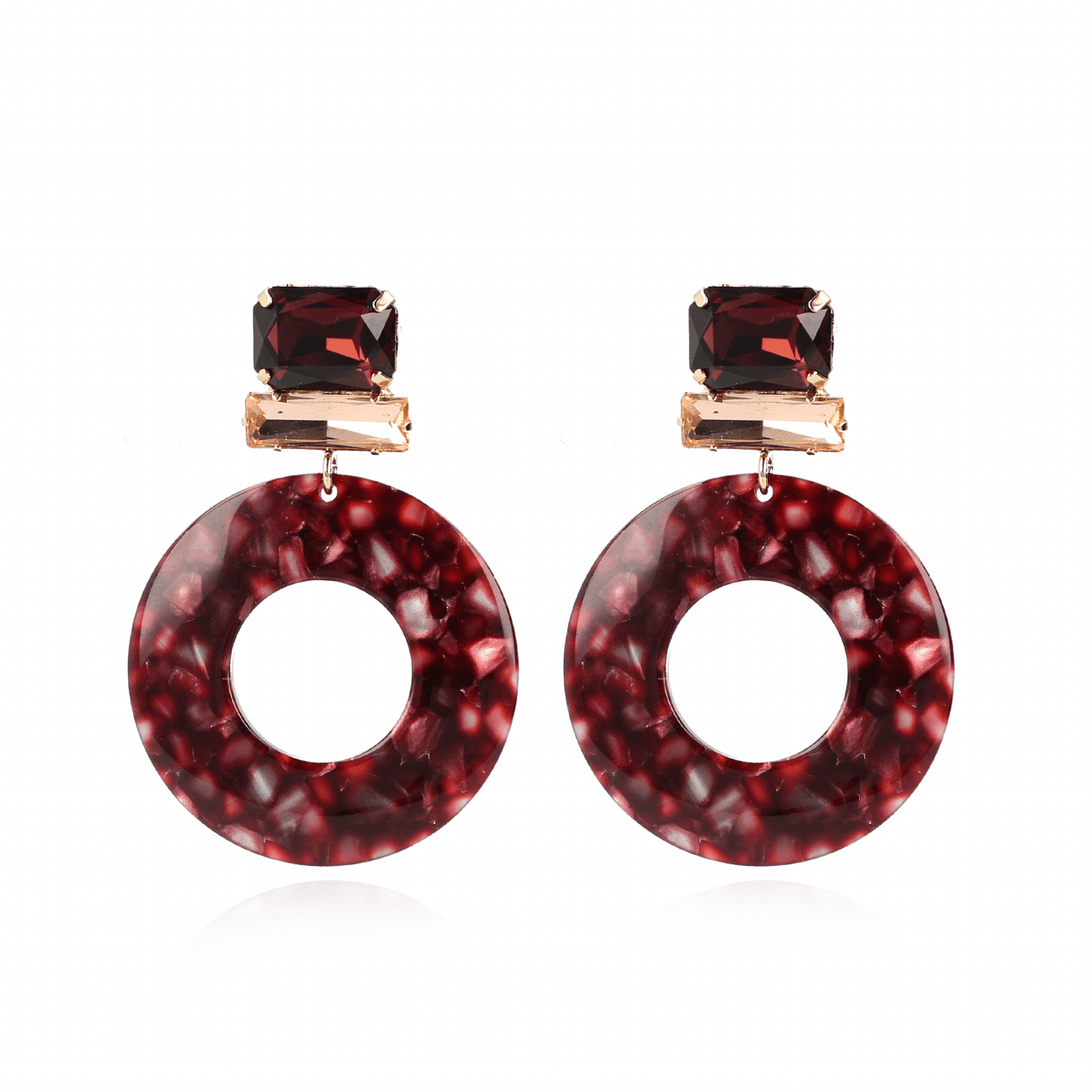 Rosie Resin Open Circle L Blended Aubergine Swarovski Red