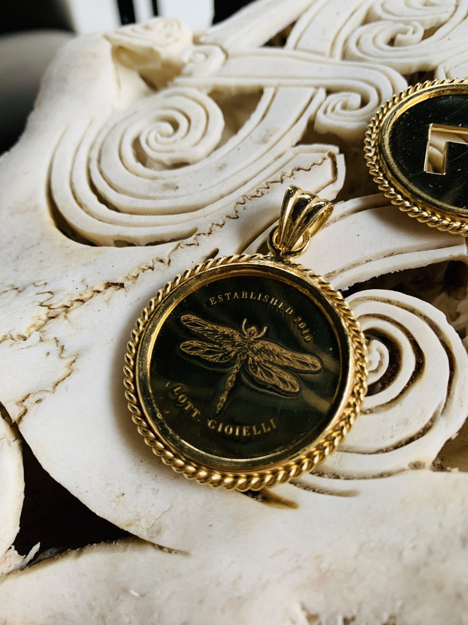 Big coin dragonfly pendant