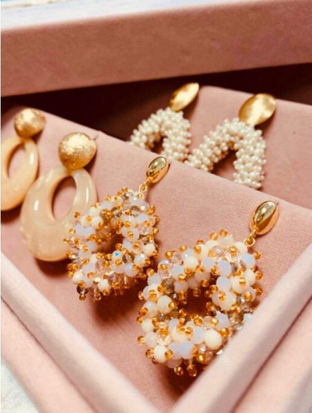 Champagne earrings holly double stones glassberry ace