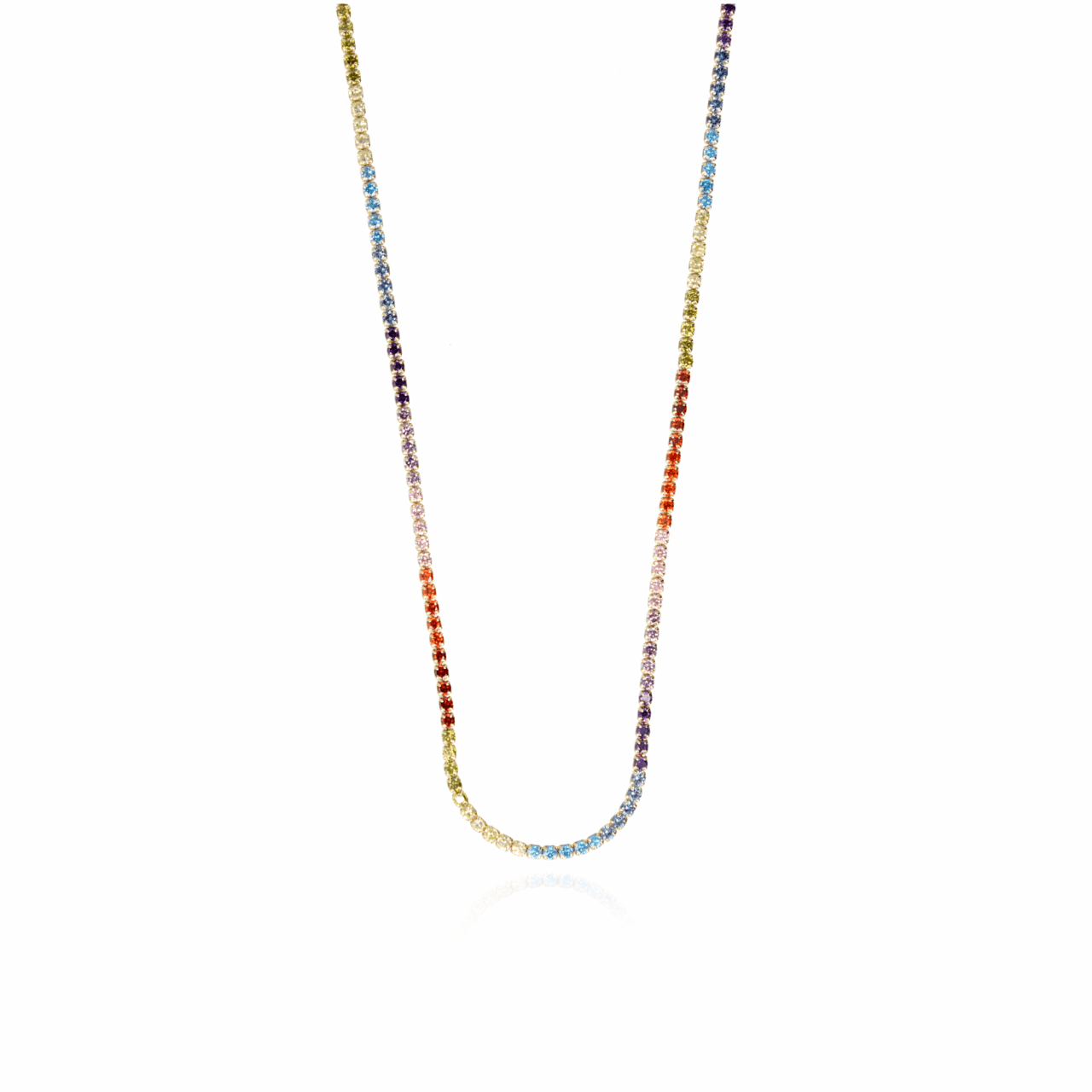 Necklace with star zirconias rainbow