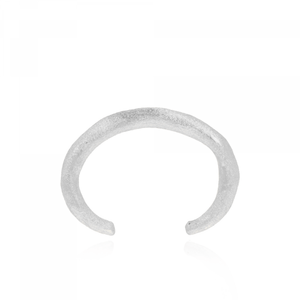 Silver brushed S bangle
