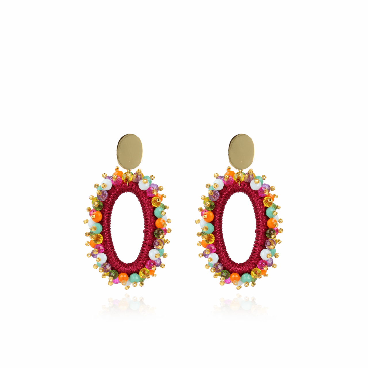 Multicolor silk urchil oval L earrings