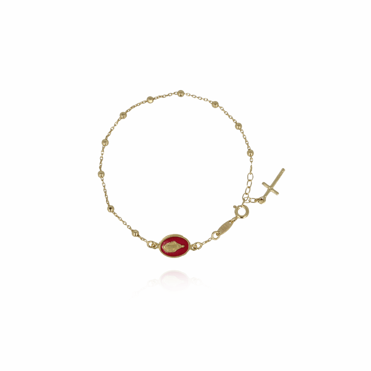 Gouden Rosary Madonna Rood Armband