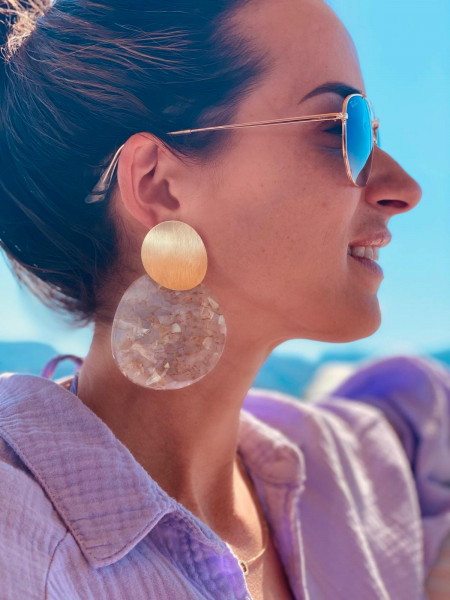Terrazzo Earrings Orion Curved Round L