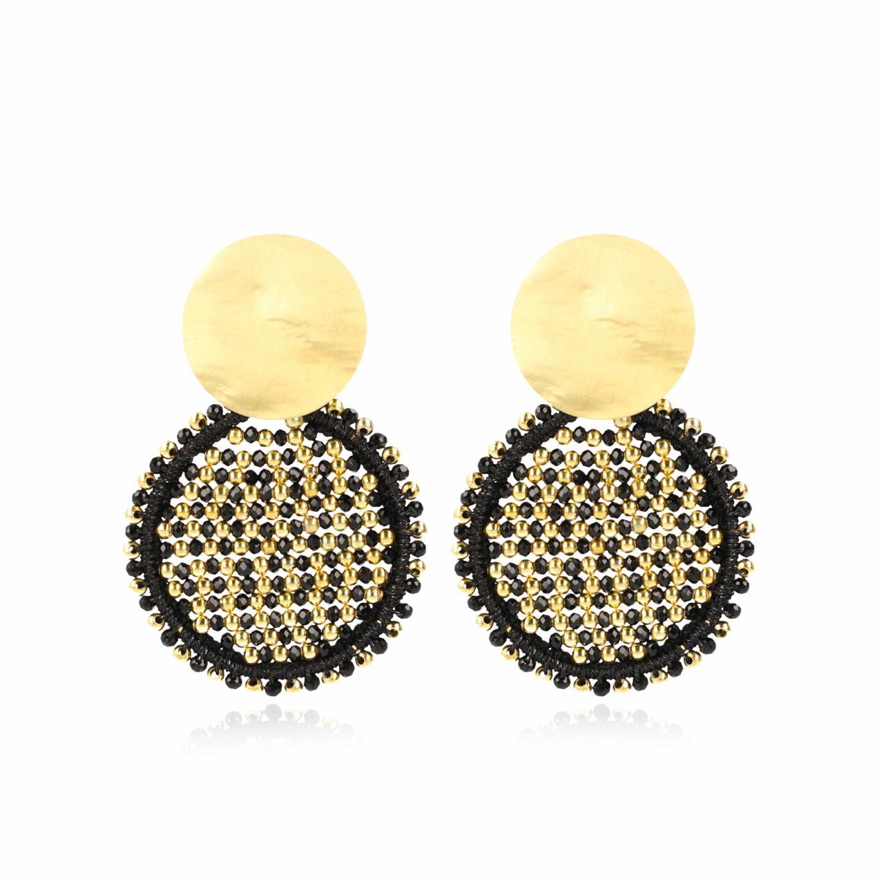 Black Golden Earrings Isabella Circle Abacus Double Stones L