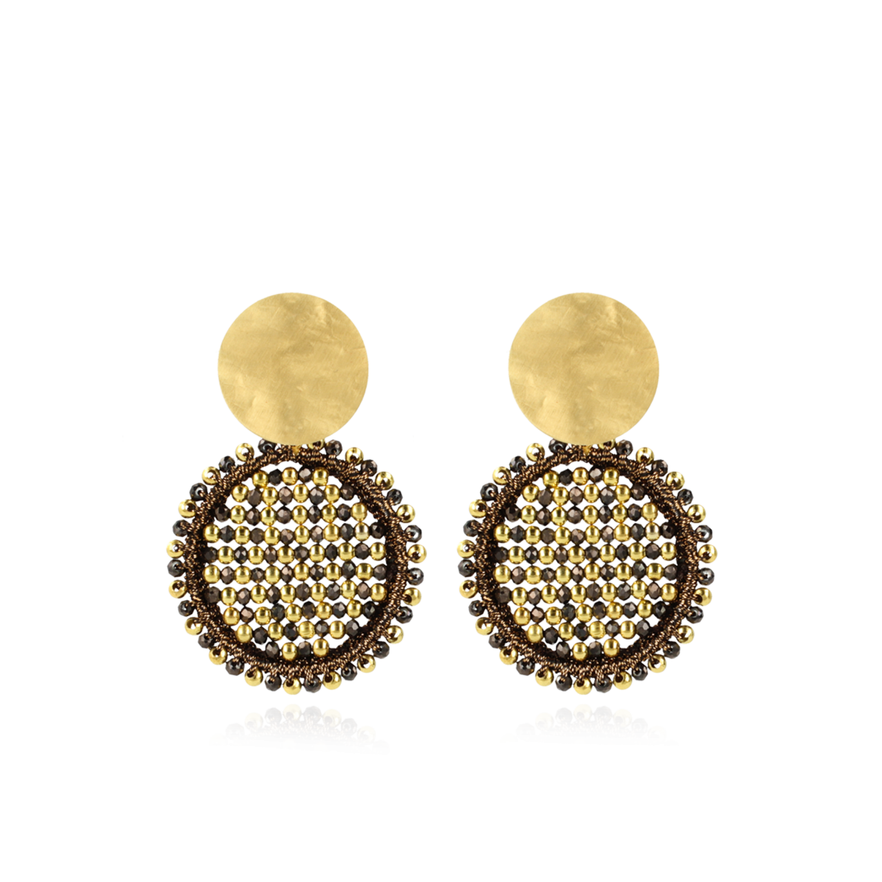 Brown Earrings Isabella Circle Abacus Double Stones M