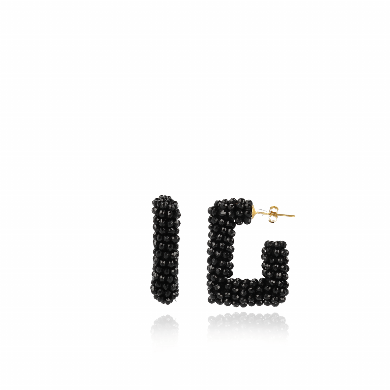 Black glassberry creole square earrings