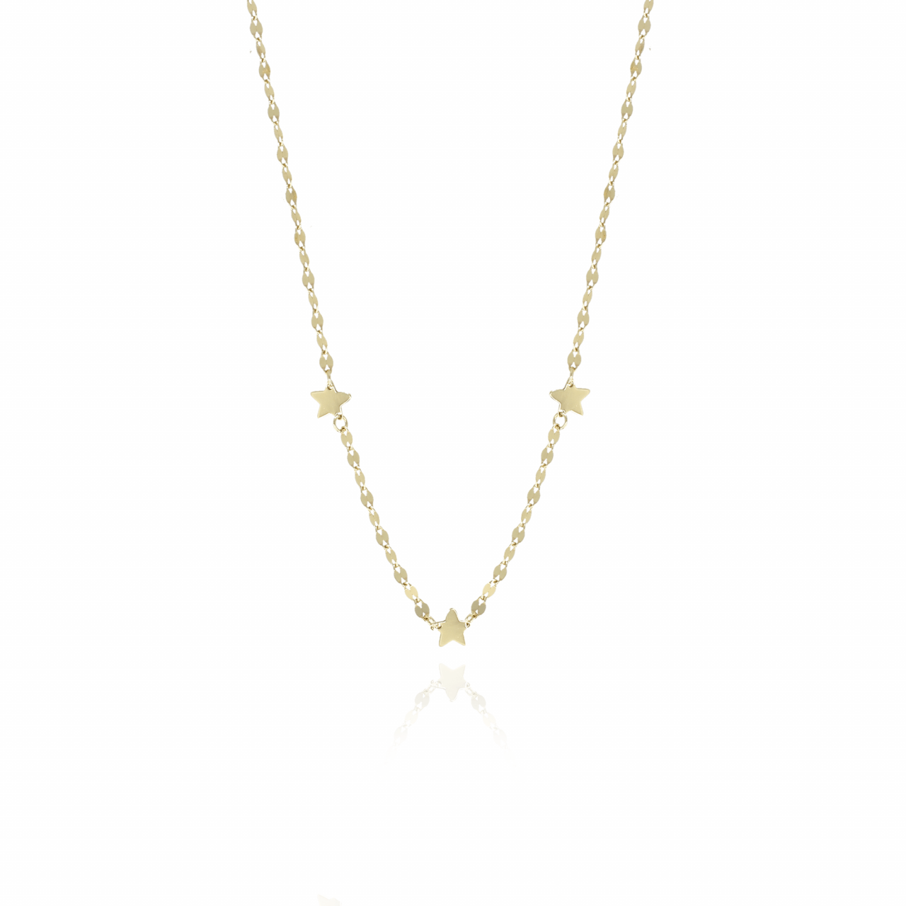Golden sequined stars S necklace