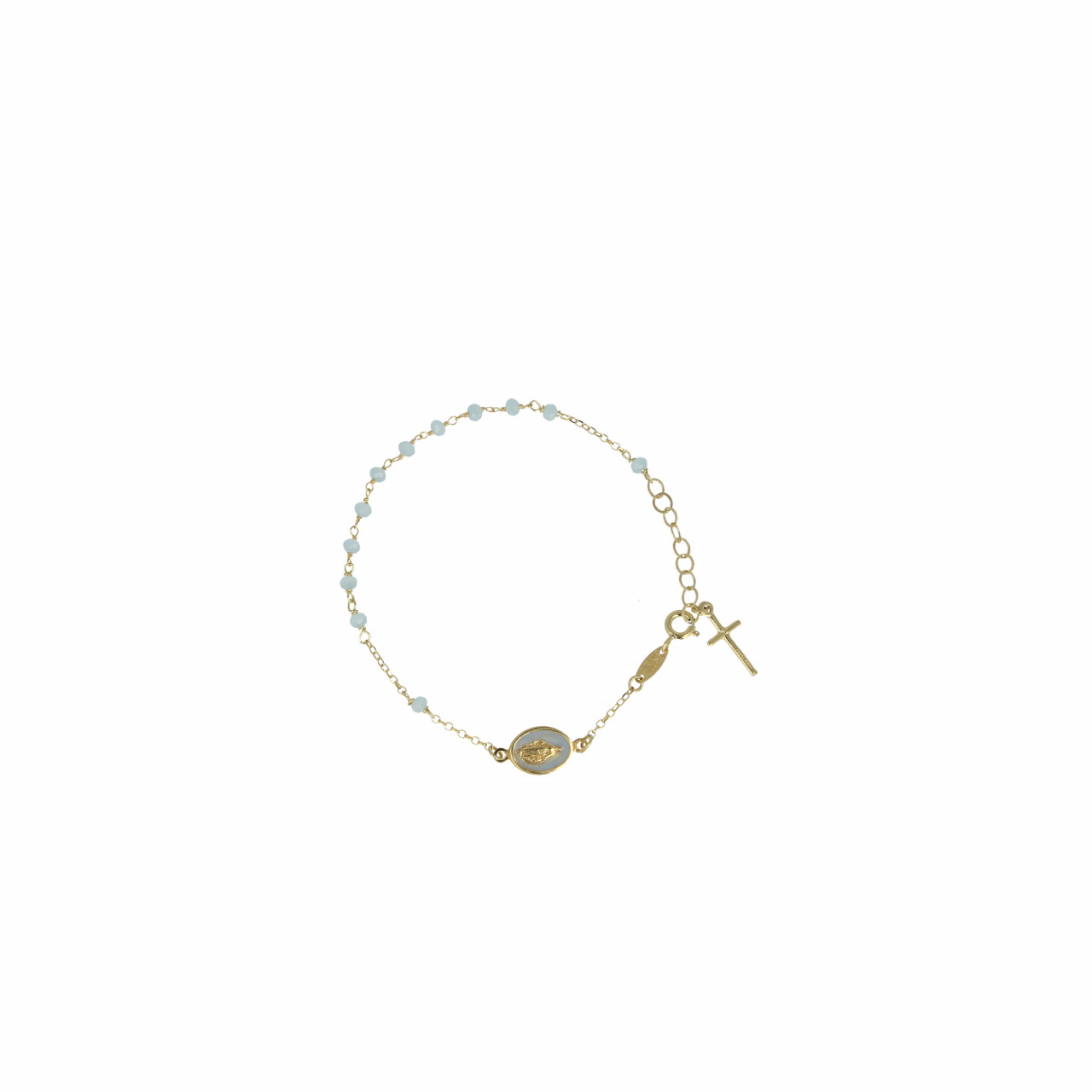 Gouden Rosary cross and mary Blauw armband