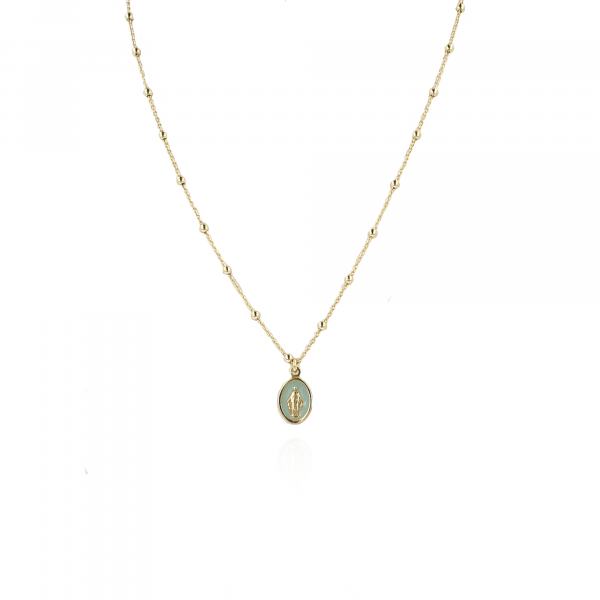 Golden Madonna light-blue necklace