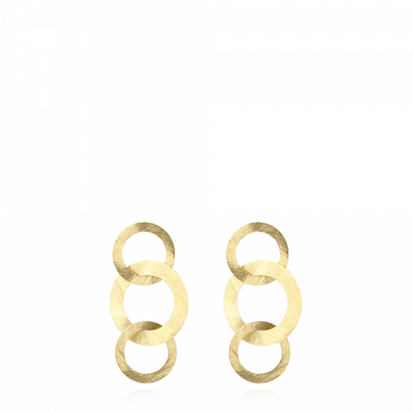 Golden classic tripple round open satin earrings