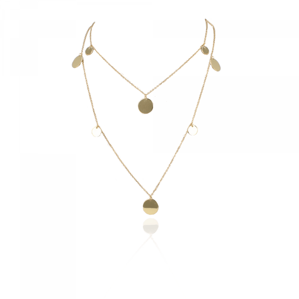 Golden irregular coins necklace