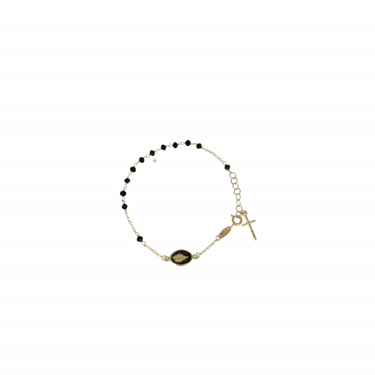 Gouden Rosary cross and mary zwart armband