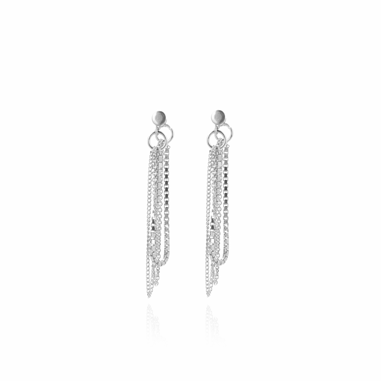 Silver venetian triple chain earrings
