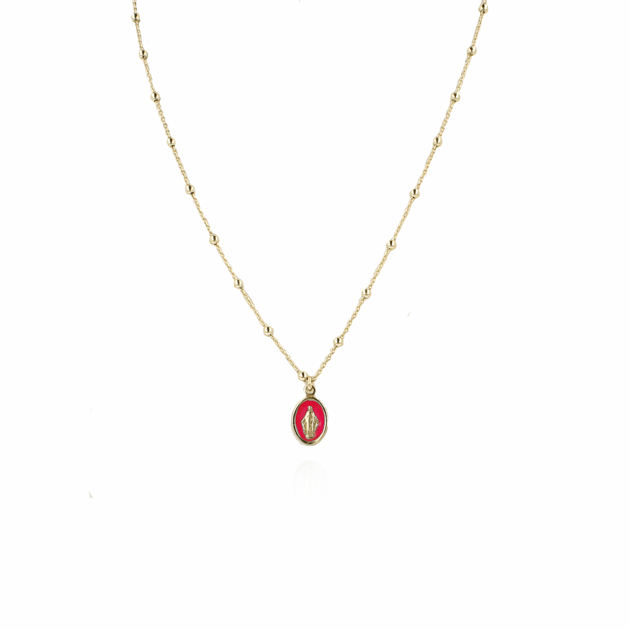 Gouden Madonna Rood Ketting