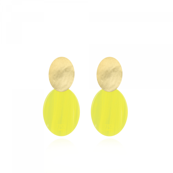 Resin Closed Oval S Sparkling Yellow oorbellen