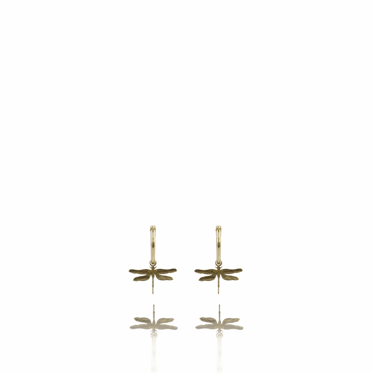 Golden Symbol Circle Dragonfly Earring