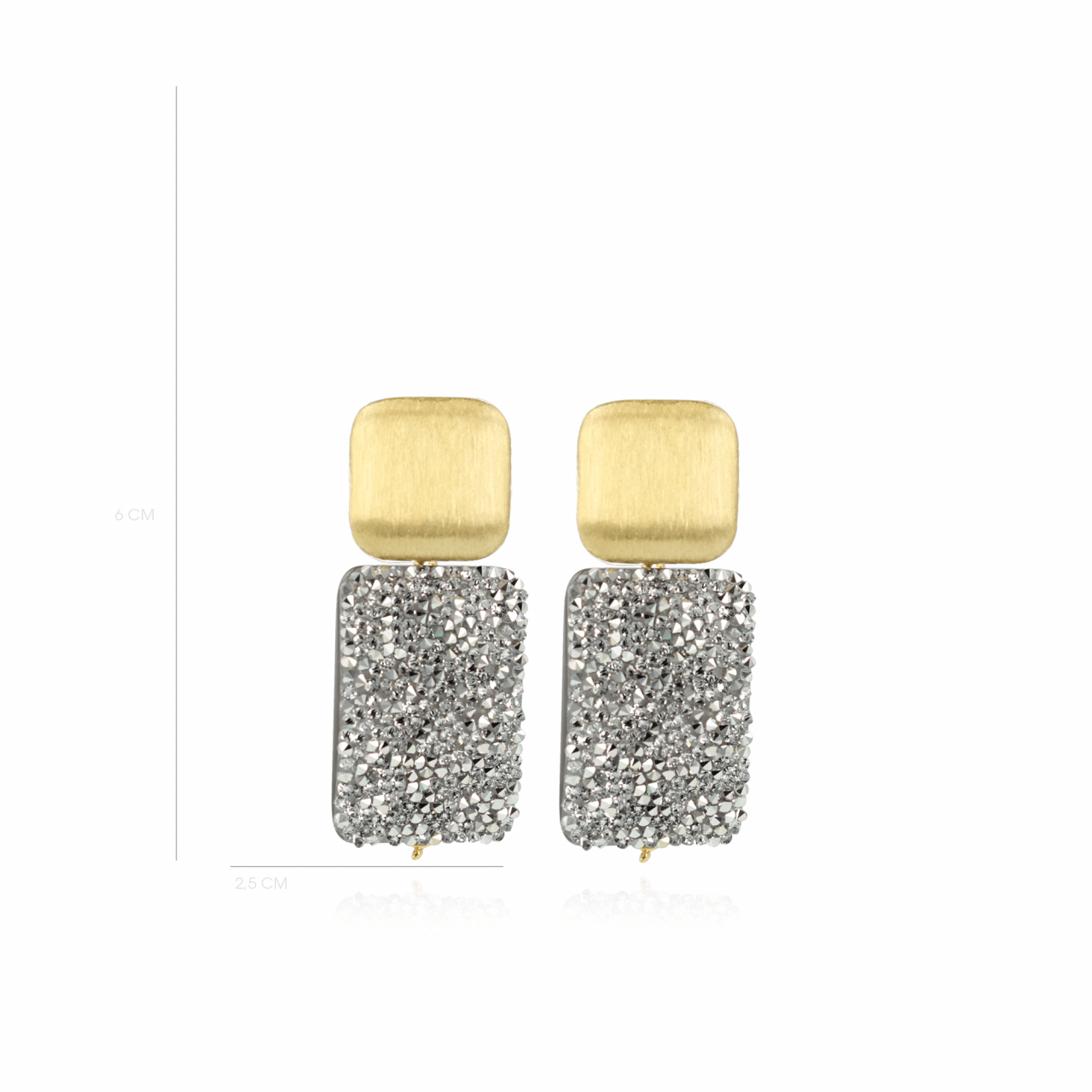 Tess swarovski rectangle m Silver earrings