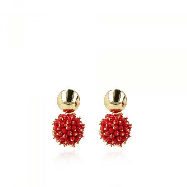 Jacky Glassberry Double Stones Globe L Red Gold