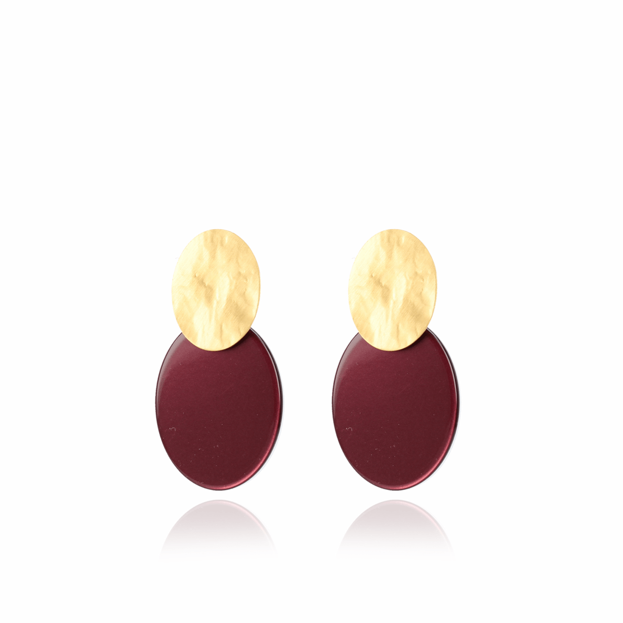 Metallic bordeaux resin closed oval S earrings