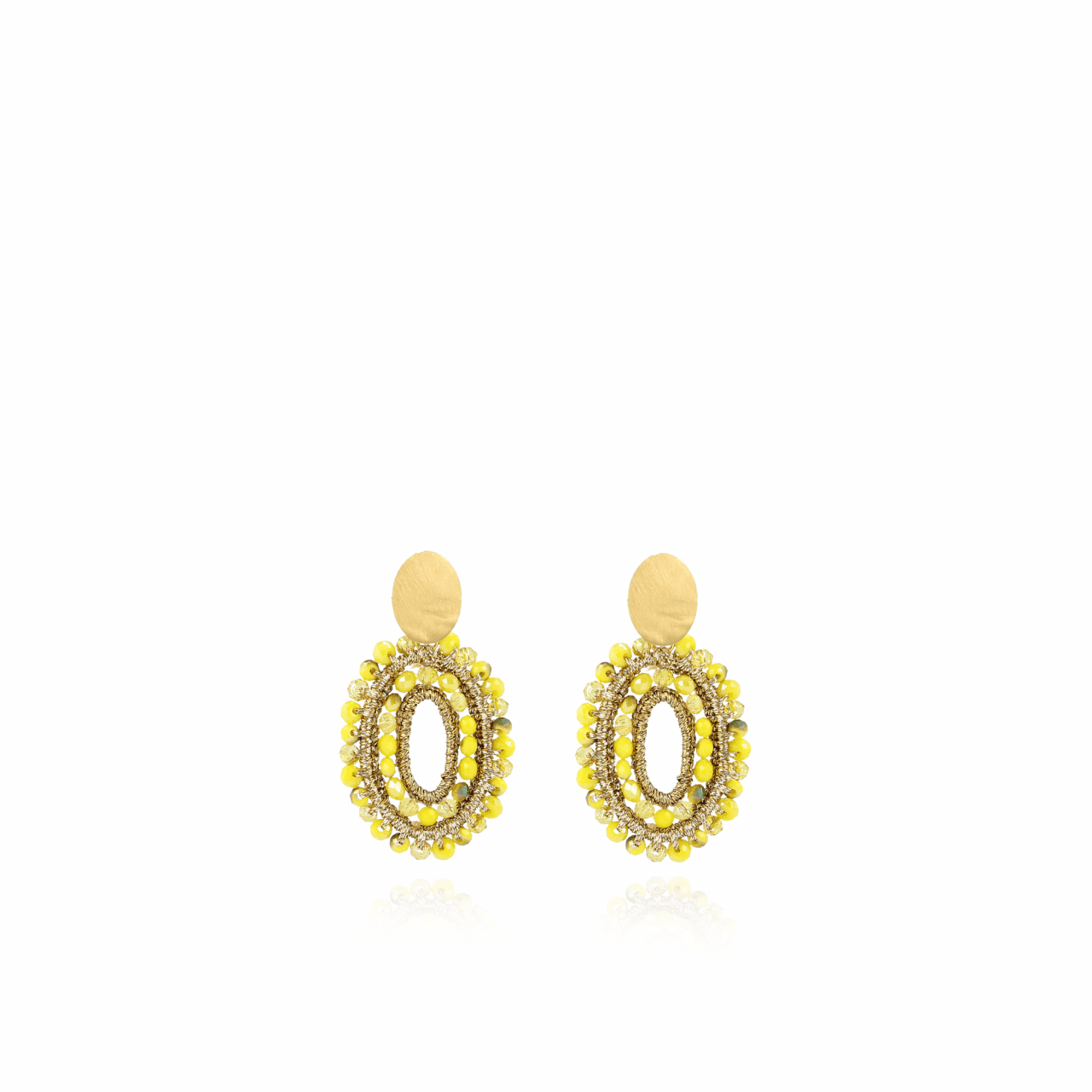 Yellow silke oval double stones XS earrings