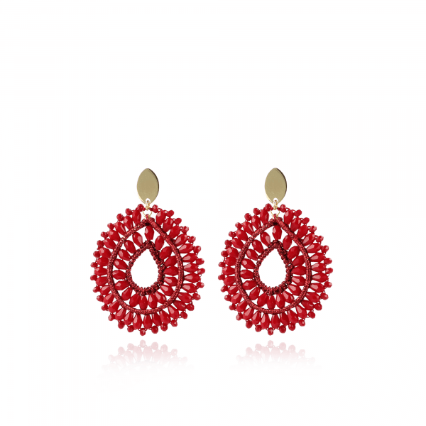 Alice Silk Crystal Drop Double Red