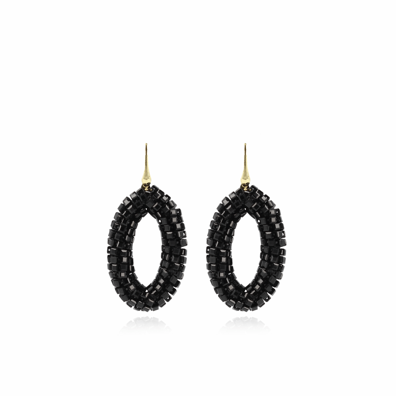 Black glassberry oval M earrings
