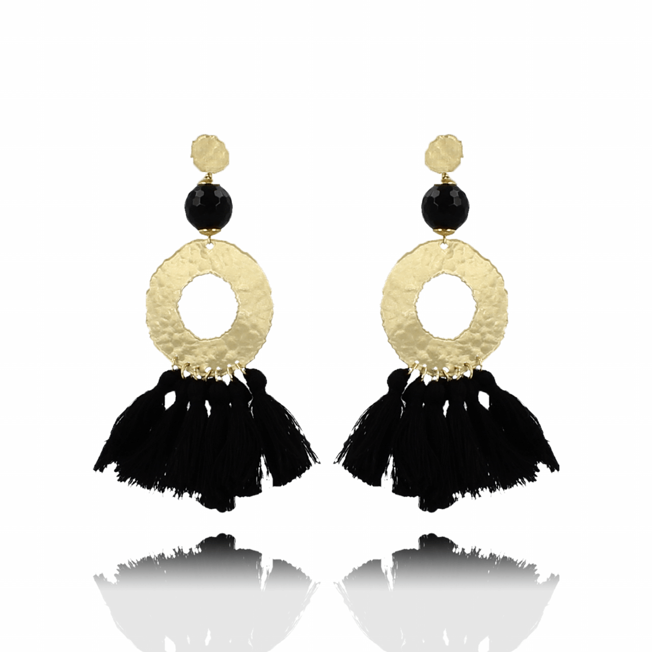 Black silk tassle XS earrings