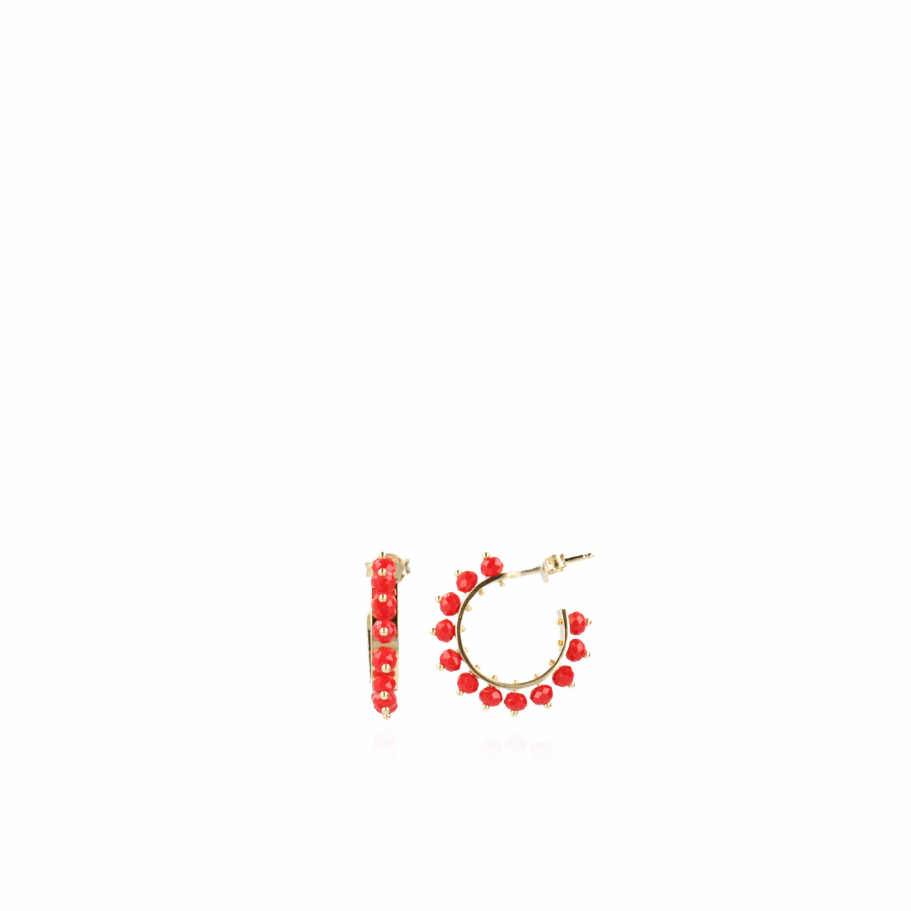 Hoop S Earring With Glass Stones Red