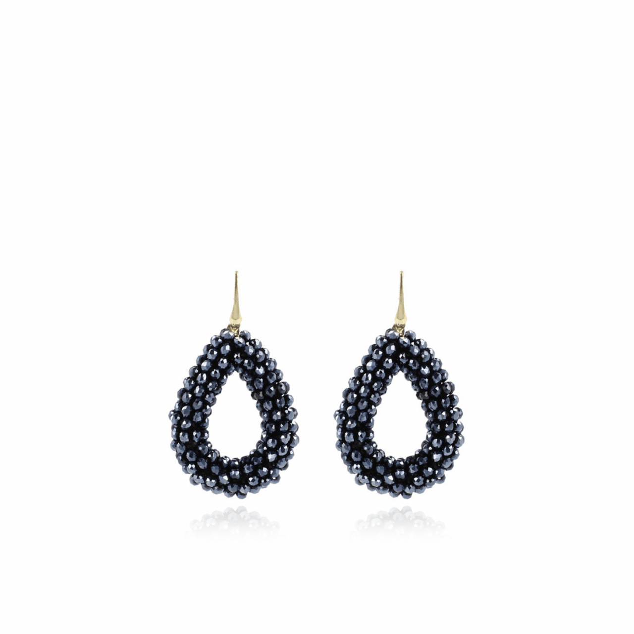 Metallic blue drop glassberry L earrings