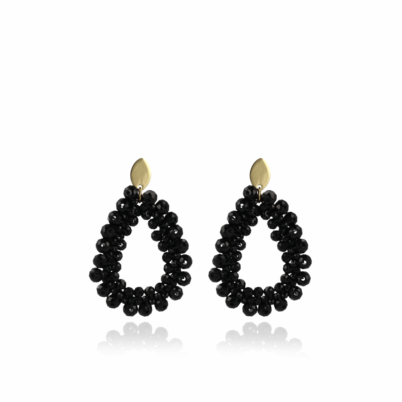 Black glassberry Peyote drop earrings gold