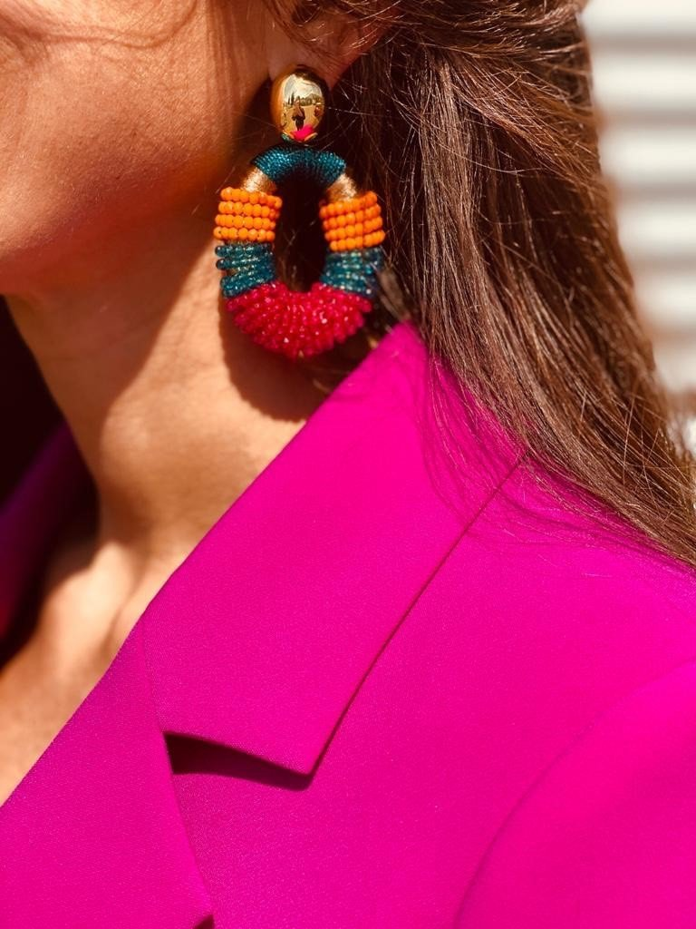 Multicolor glassberry silk combi oval earrings