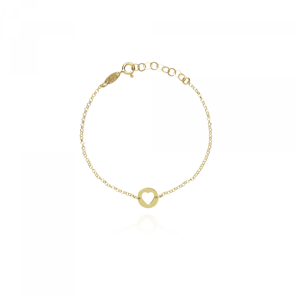 Golden heart coin bracelet