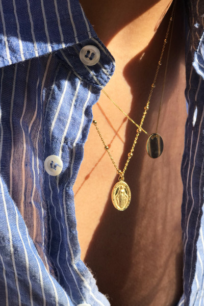 Golden Rosary Mary necklace