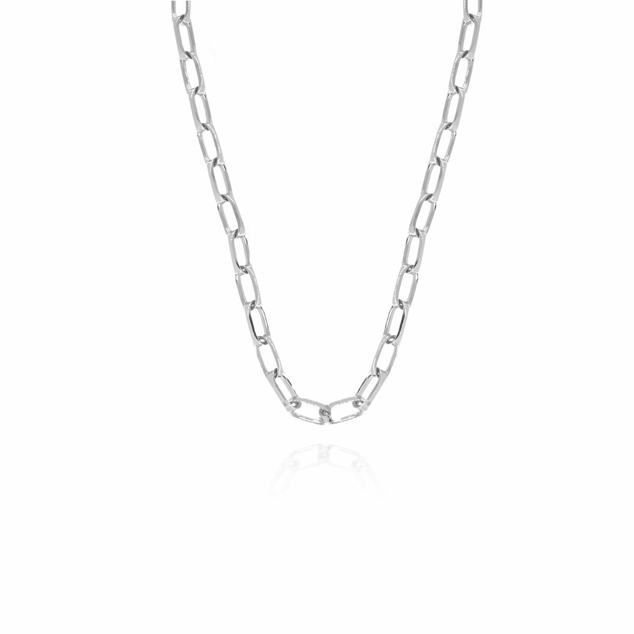 Silver closed forever L chain necklace