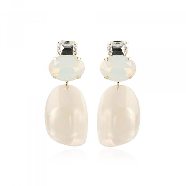 Pernille assymetric oval L pearl