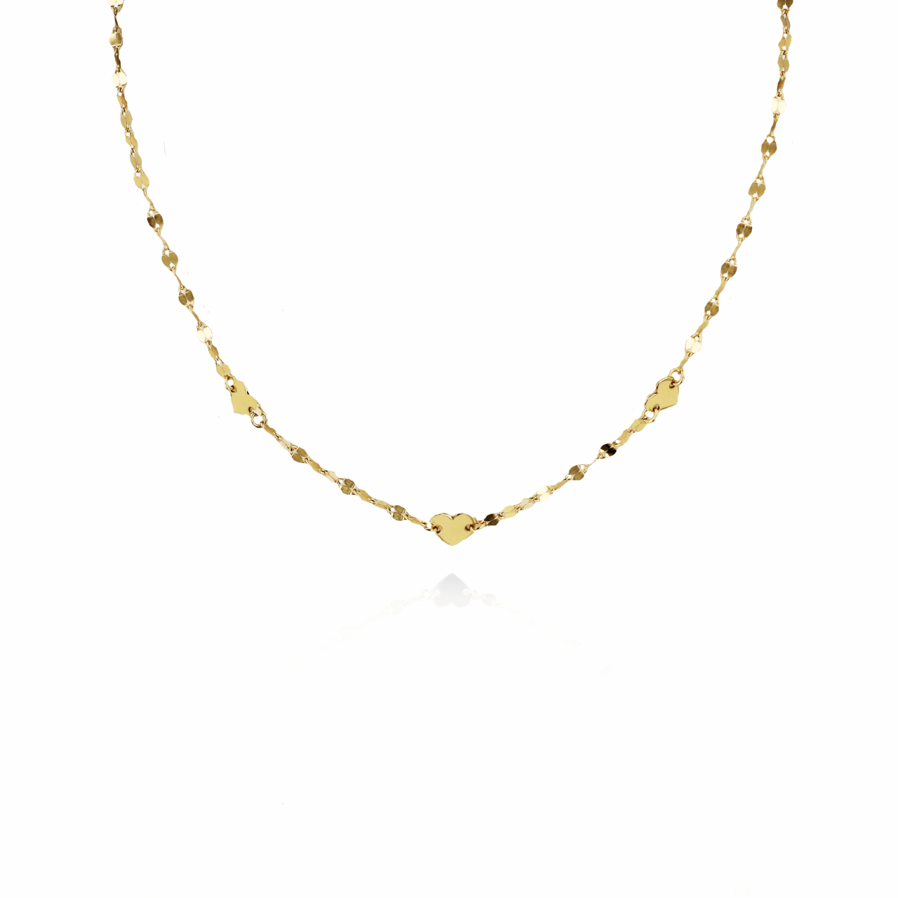 Golden sequined hearts S necklace