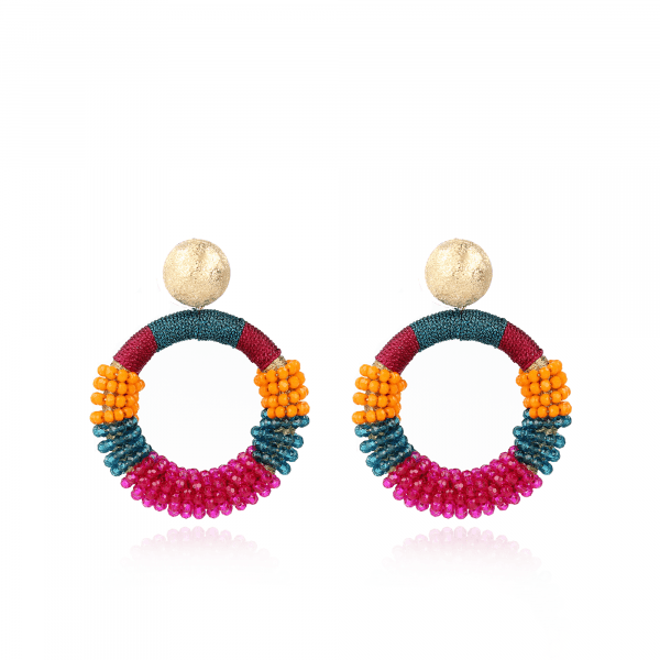 Multicolor glassberry silk round combi earrings