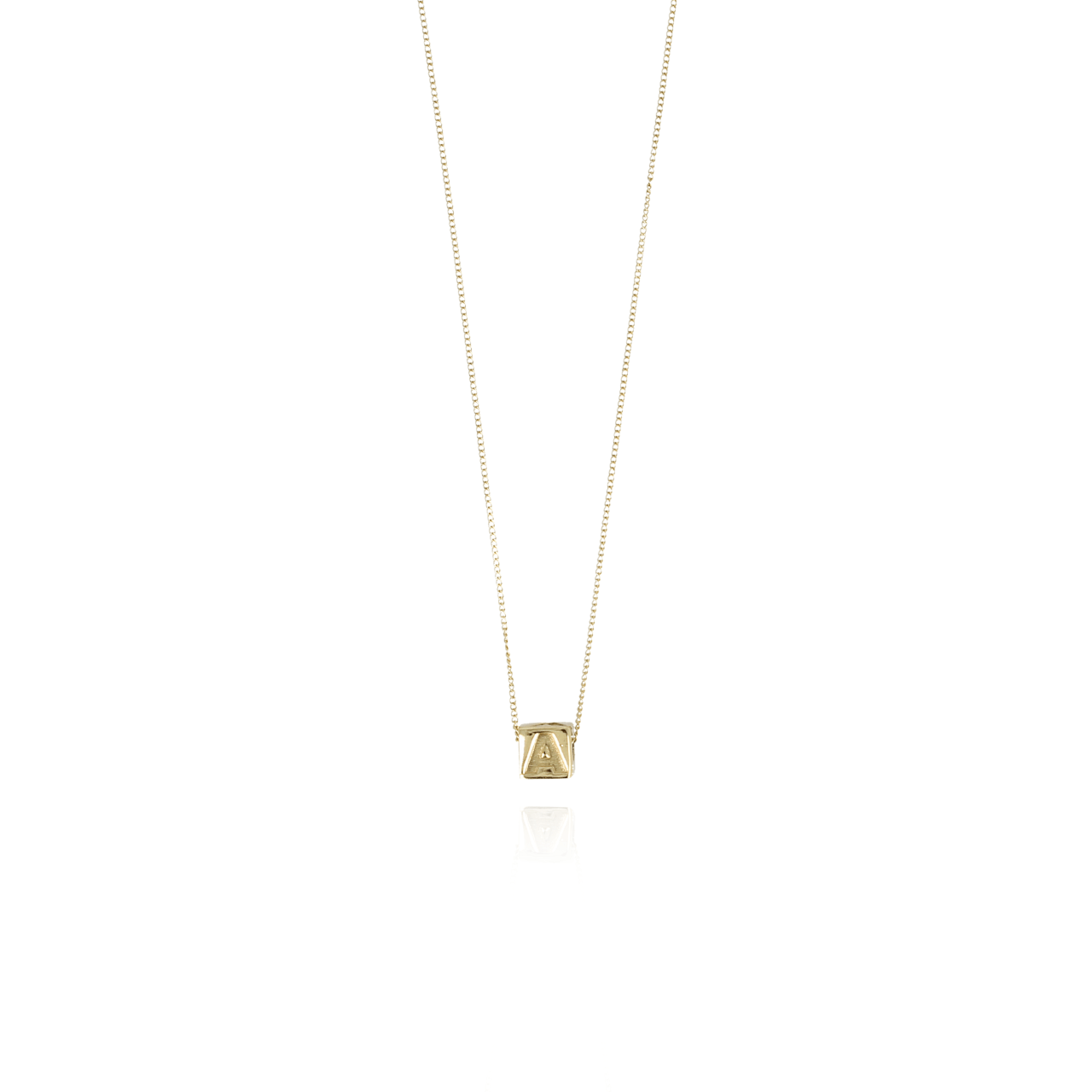 Gouden Initial cube ketting