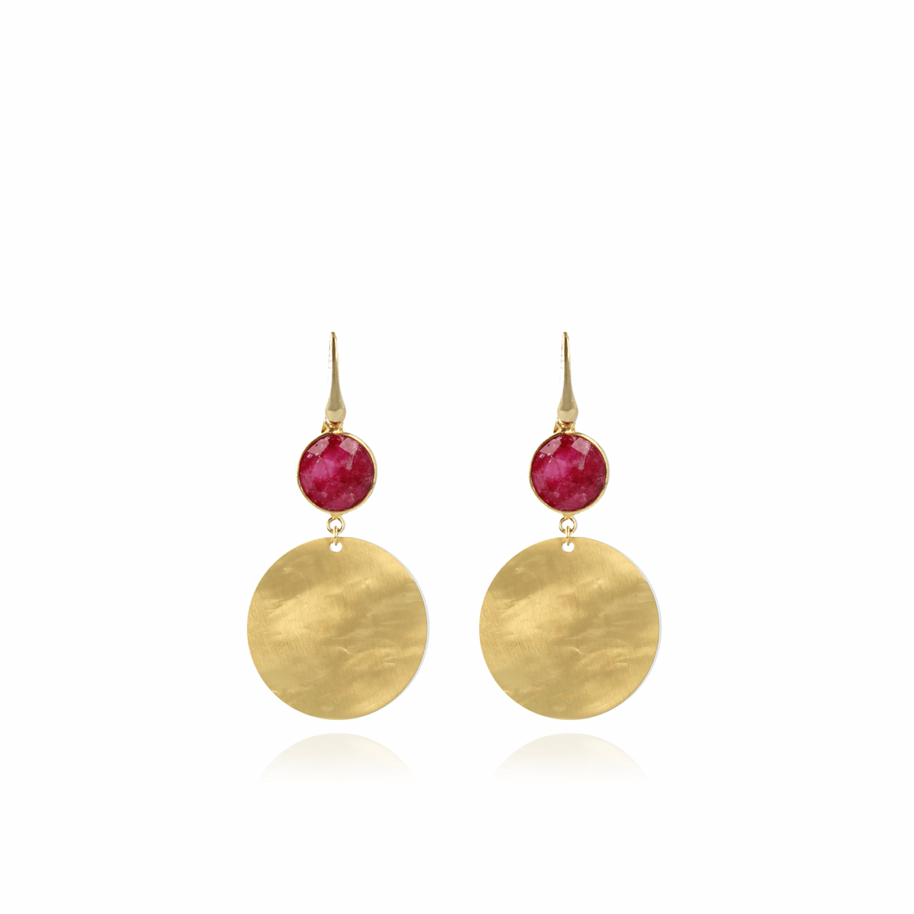 Boucles d'oreilles arrondies en quartz rouge cerise