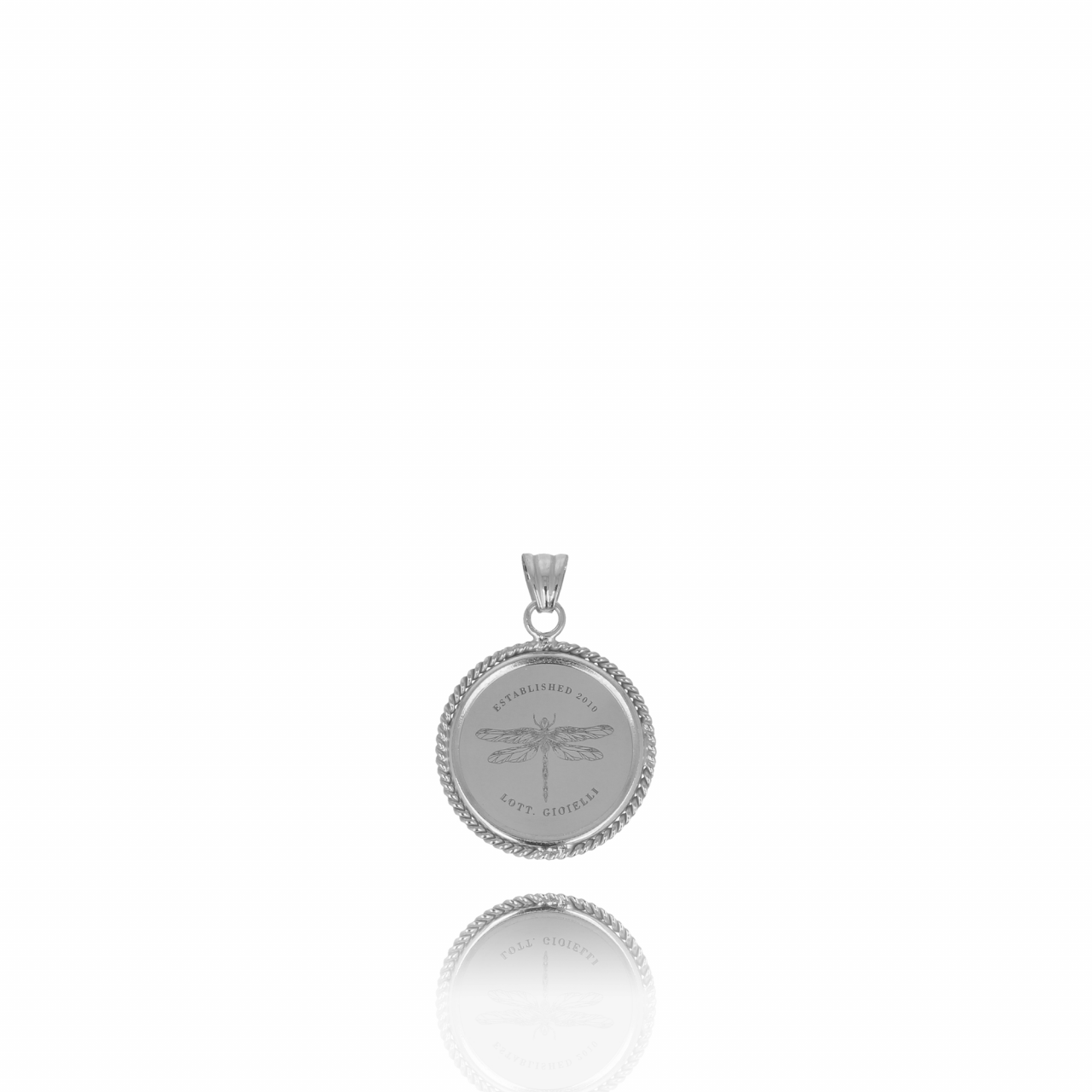 Zilveren big coin dragonfly pendant