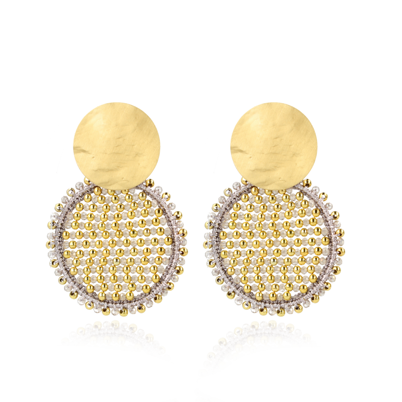 Champagne Oorbellen Circle Abacus Double Stones L