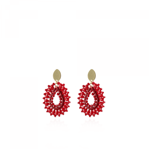 Robin Silk drop crystal S red earrings