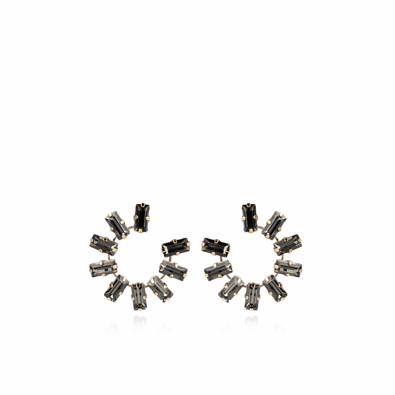 Thirza Swarovski Creole Medium Black Diamond oorbellen